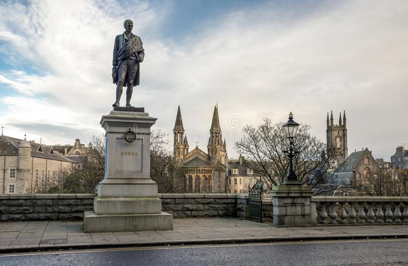 Robert Burns statues on the entrance to Union Terrace Gardens, Aberdeen, Scotland royalty free stock image