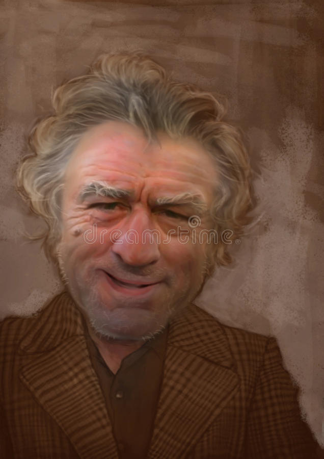Robert De Niro caricature portrait. De Niro Caricature sketch for editorial use for newspapers, magazines and web