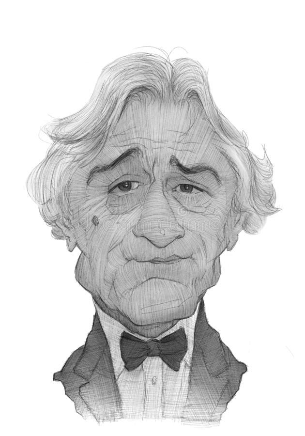 Robert De Niro Caricature Sketch. For editorial use stock illustration