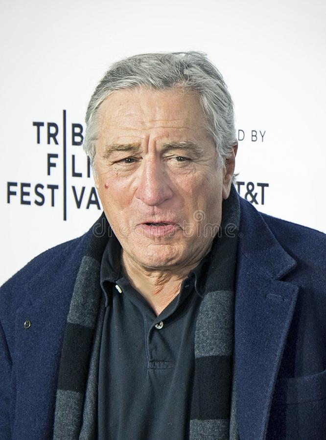 Robert De Niro Arrives on Opening Night of 17th Tribeca Film Festival. Actor and one of the founders of the Tribeca Film Festival, Robert De Niro arrives on royalty free stock photography