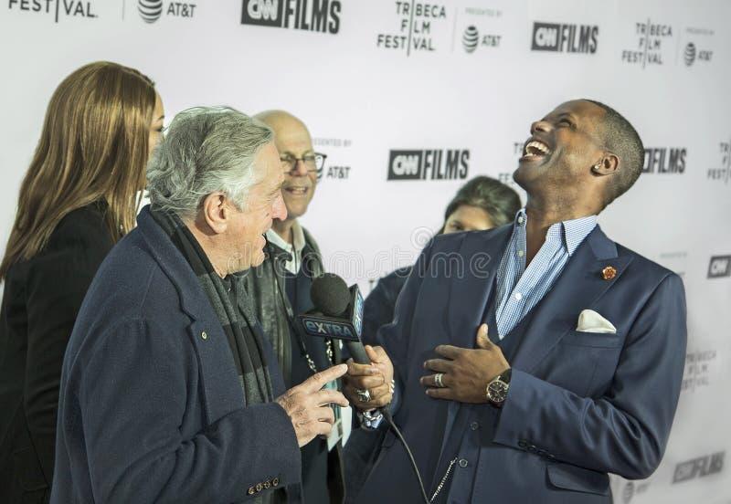 Robert DeNiro Interviewed el noche de la inauguración del 17mo festival de cine de Tribeca foto de archivo