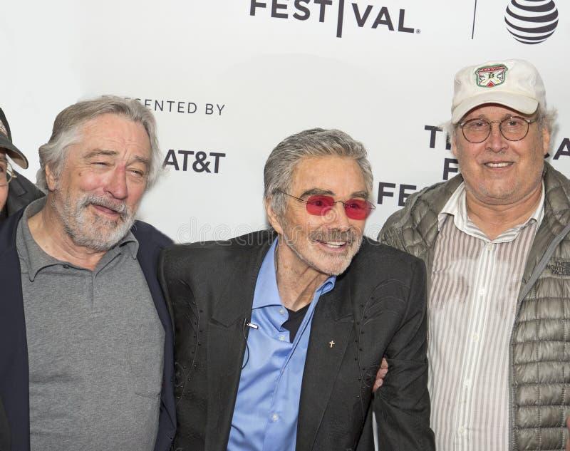 Robert De Niro Joins Burt Reynolds and Chevy Chase who star in `Dog Years` at the 2017 Tribeca Film Festival. Three amigos, actors Robert De Niro, Burt Reynolds royalty free stock photos