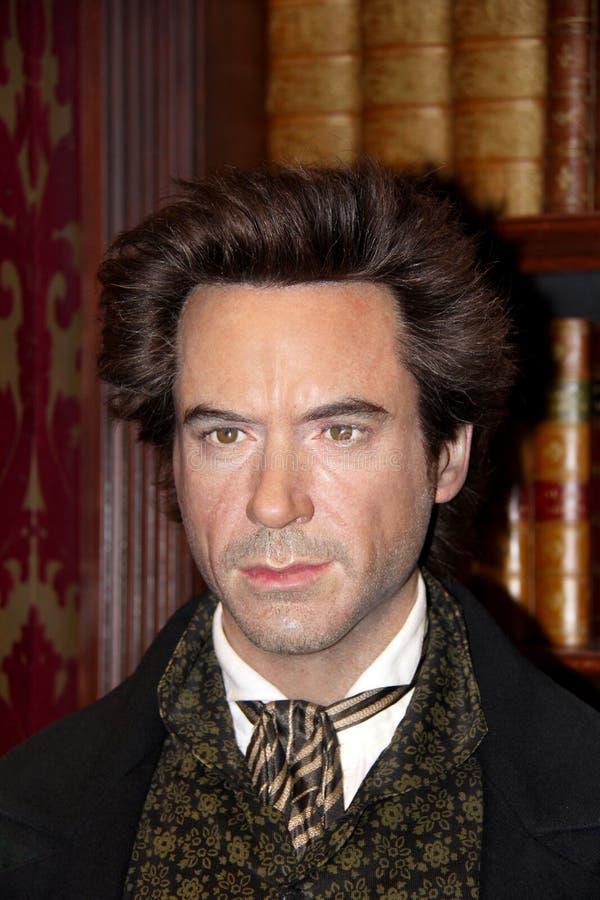 Robert Downey Jr als Sherlock Holmes stock afbeeldingen
