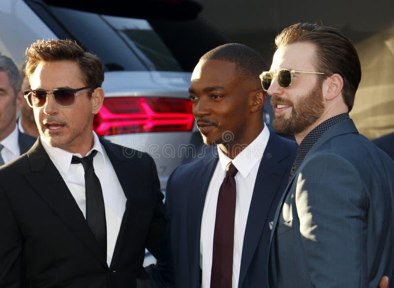 Robert Downey Jr , Anthony Mackie und Chris Evans stockfoto