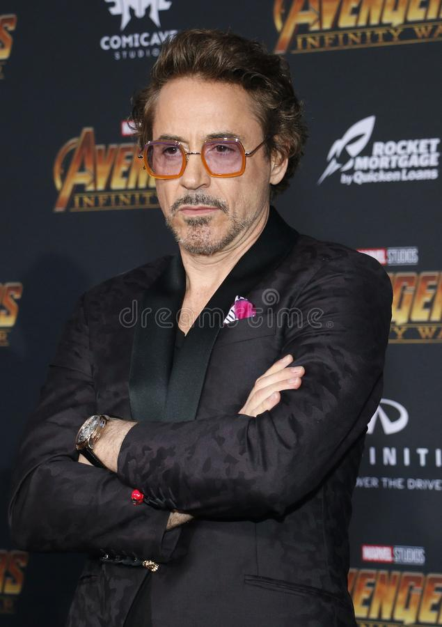 Robert Downey Jr. At the premiere of Disney and Marvel`s `Avengers: Infinity War` held at the El Capitan Theatre in Hollywood, USA on April 23, 2018 stock photo