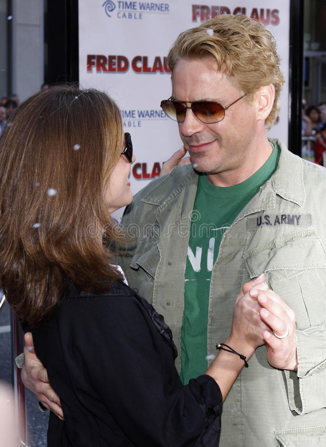Robert Downey Jr. and Susan Downey. Robert Downey Jr. attends the World Premiere of `Fred Claus` held at the Grauman`s Chinese Theater in Hollywood, California stock image