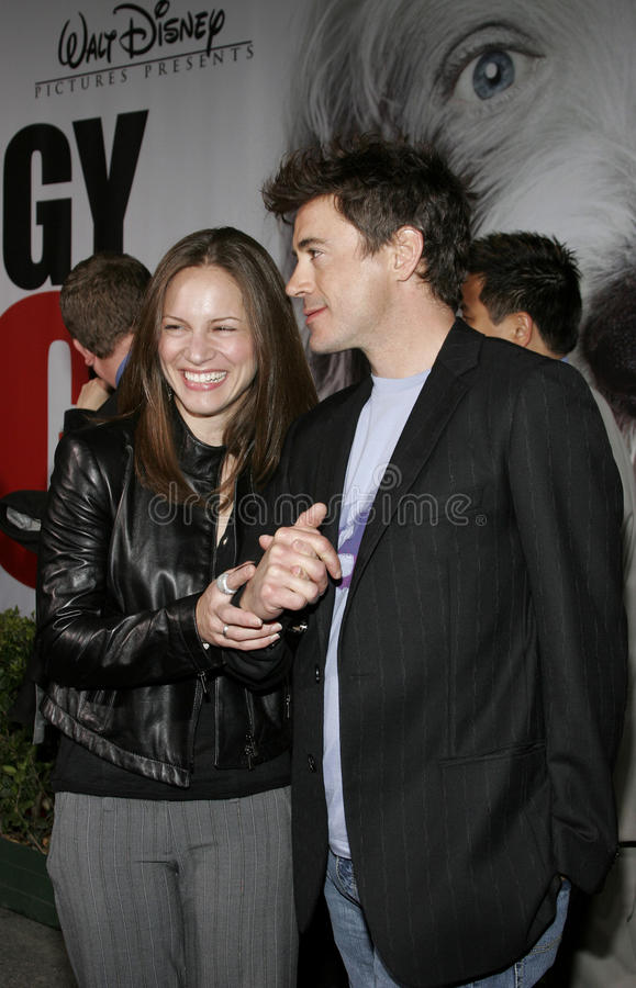 Robert Downey Jr. and Susan Downey. HOLLYWOOD, CALIFORNIA. March 7, 2006. Robert Downey Jr. and Susan Levin attend the Walt Disney's World Premiere of The Shaggy royalty free stock photography
