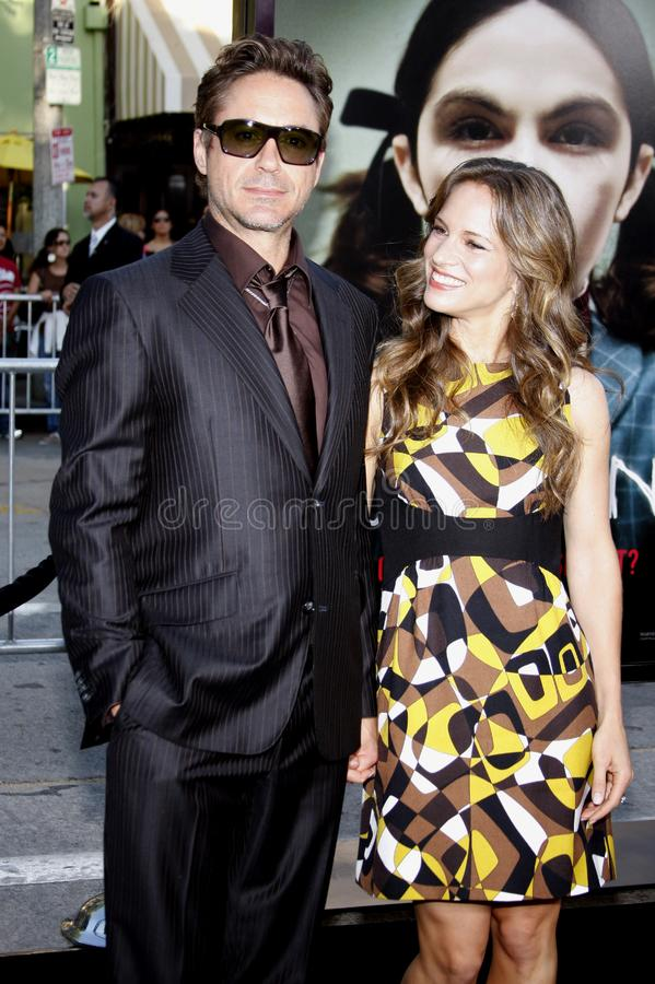Robert Downey Jr. and Susan Downey. 21/7/2009 - Westwood - Robert Downey Jr. and Susan Downey at the Los Angeles Premiere of `Orphan` held at the Mann Village royalty free stock photo