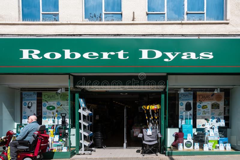 Robert Dyas Swindon. Swindon, United Kingdom - May 04 2019:   The entrance to Robert Dyas Hardware store branch on Regent Street stock photography