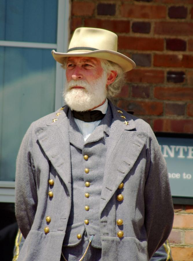 Robert E Lee Reenactor - Bedford, Virginia royaltyfri fotografi