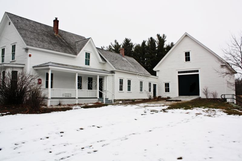 Robert Frost Home. Derry New Hampshire,United States ,January, 2016. The post Robert Frost Lived and farmed here from 1900 to 1911. At the same time he taught at royalty free stock photos