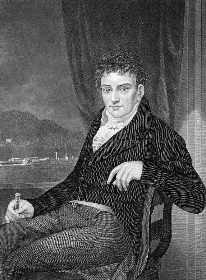 Robert Fulton. (1765-1815) on engraving from 1873. American engineer and inventor widely known for developing the first commercially successful steamboat royalty free illustration