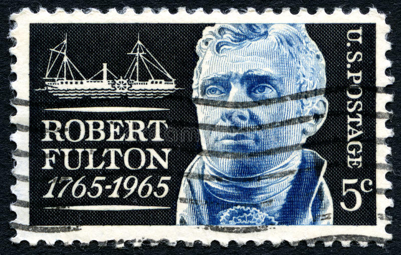 Robert Fulton US Postage Stamp. UNITED STATES OF AMERICA - CIRCA 1965: A used postage stamp from the USA commemorating the life of inventor Robert Fulton, circa royalty free stock photos