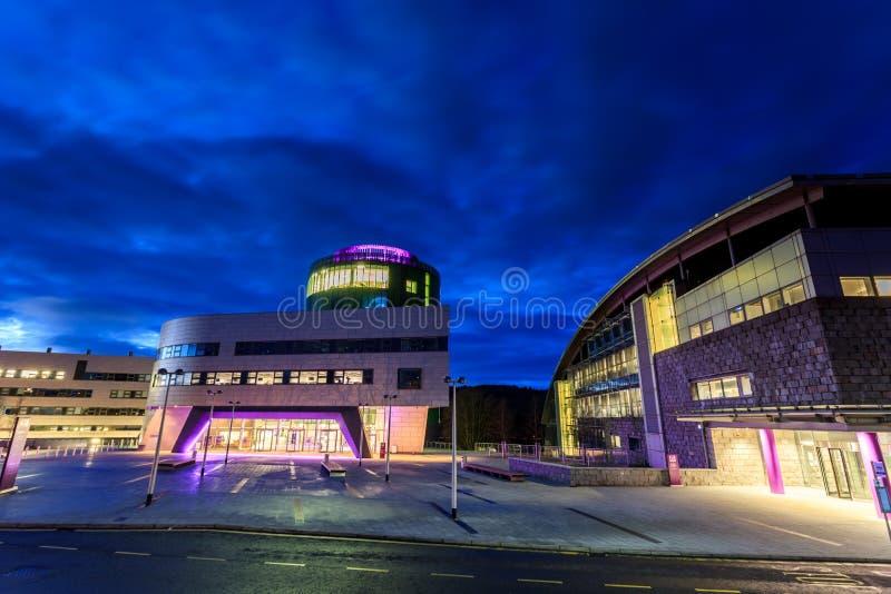 The Robert Gordon University (RGU) in Aberdeen during sunrise. ABERDEEN SCOTLAND – 9 FEBRUARY 2015 The Robert Gordon University (RGU) in Aberdeen during stock photography