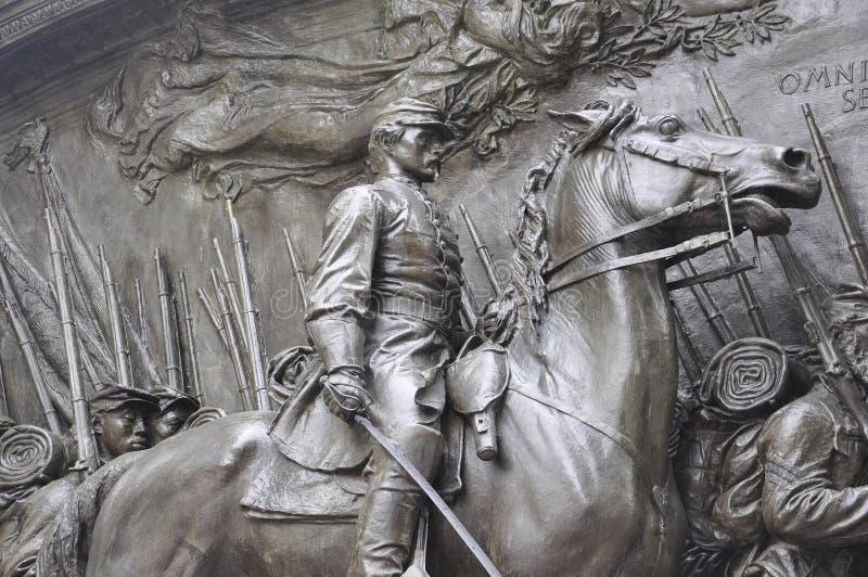 Robert Gould Shaw memorável e 54th regimento de Boston no estado de Massachusettes de EUA fotografia de stock