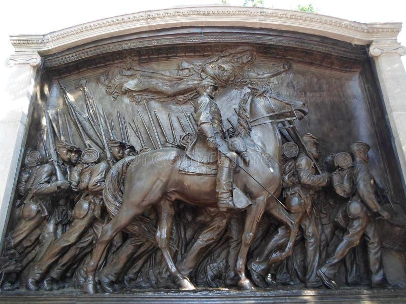 Robert Gould Shaw Memorial, Bakenstraat, Boston, Massachusetts, de V.S. stock afbeelding