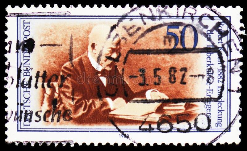 Robert Koch, Medyczni odkrycie - Tubercule bakcyl seria około 1982, fotografia stock