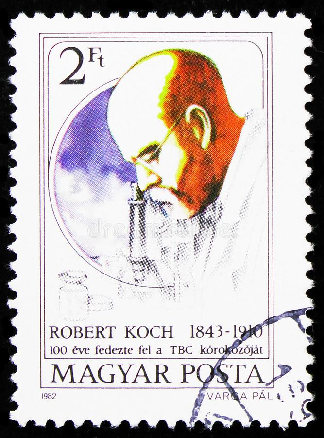 Robert Koch, Personalities serie, circa 1982. MOSCOW, RUSSIA - AUGUST 21, 2019: Postage stamp printed in Hungary shows Robert Koch, Personalities serie, circa royalty free stock image