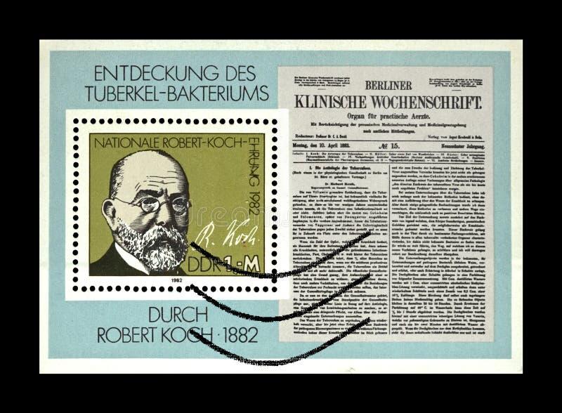 Robert Koch, TB-Bazillus Jahrhundert, DDR, circa 1982 lizenzfreie stockfotos