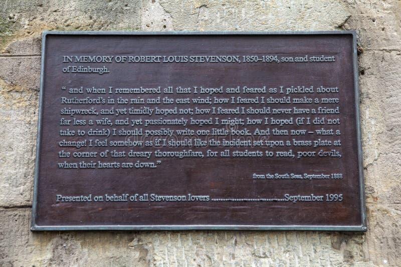 Robert Louis Stevenson Plaque em Edimburgo imagens de stock