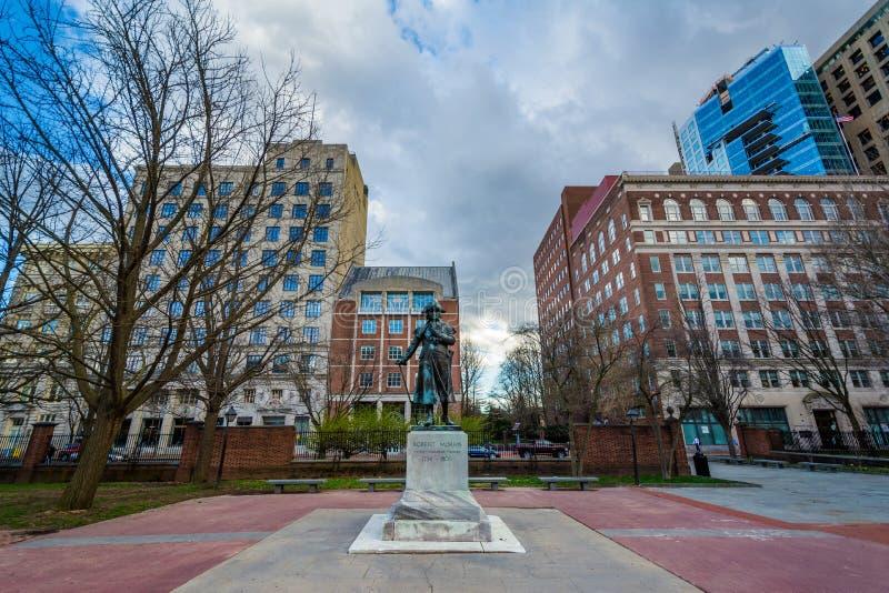 Robert Morris statua przy niezależności centrum handlowym w Filadelfia, Pennsylwania zdjęcie royalty free