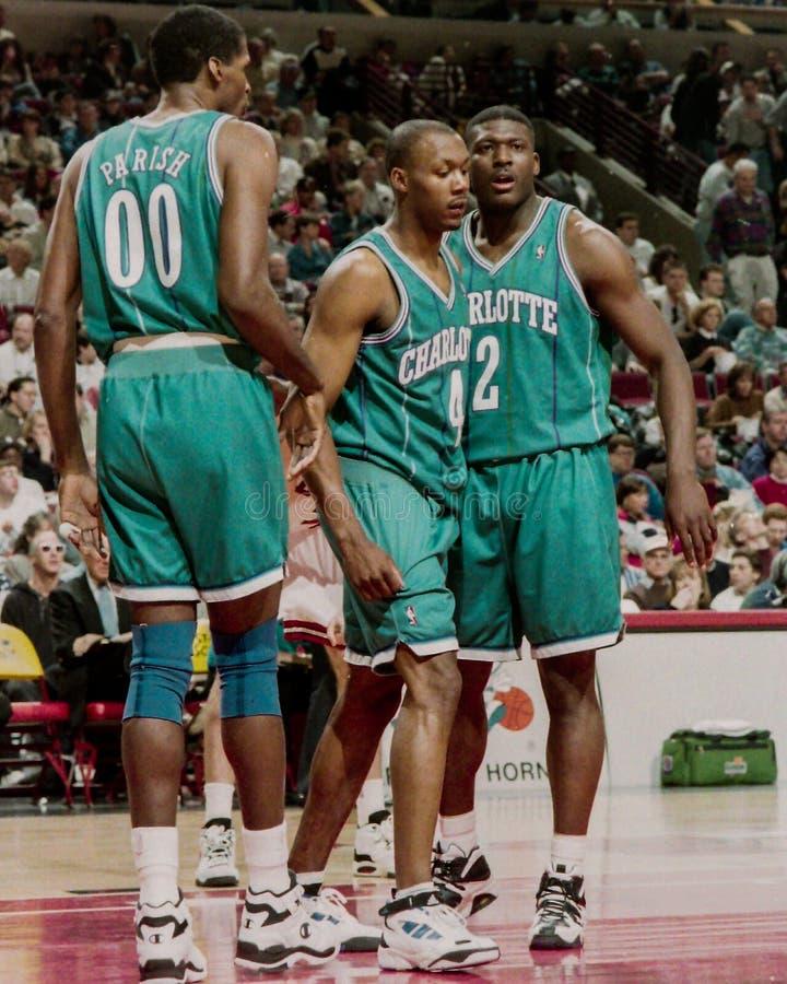 Robert Parish and Larry Johnson. Charlotte Hornets players Robert Parish and Larry Johnson (2 stock photography