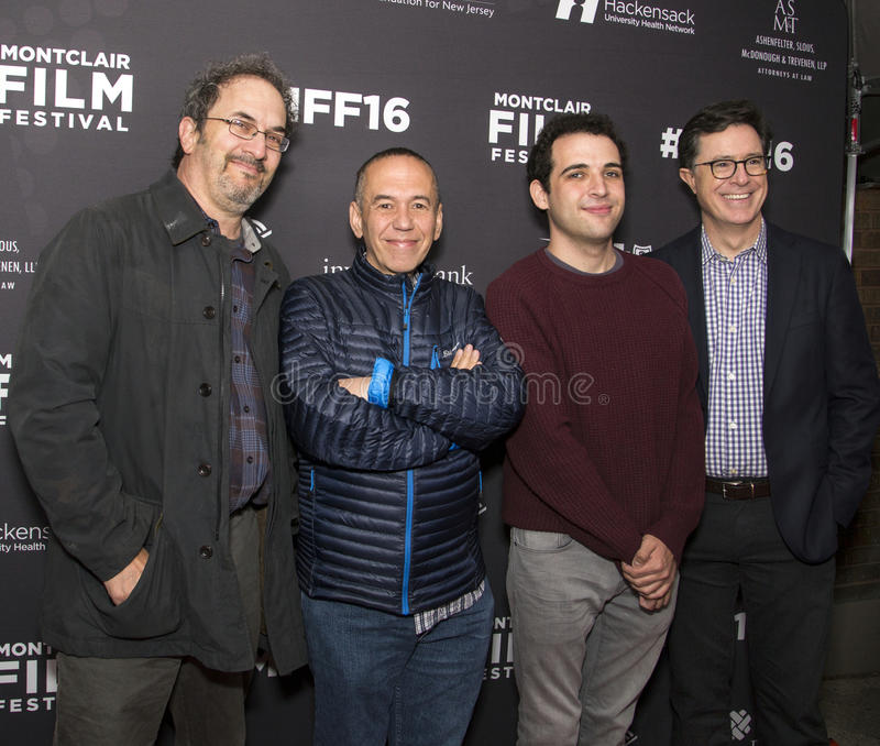 Robert Smigel, Gilbert Gottfried, Owen Suskind, et Stephen Colbert photographie stock