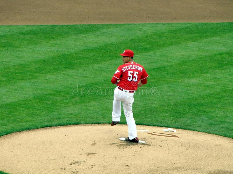 Robert Stephenson faz seu Major League Baseball Debut imagem de stock