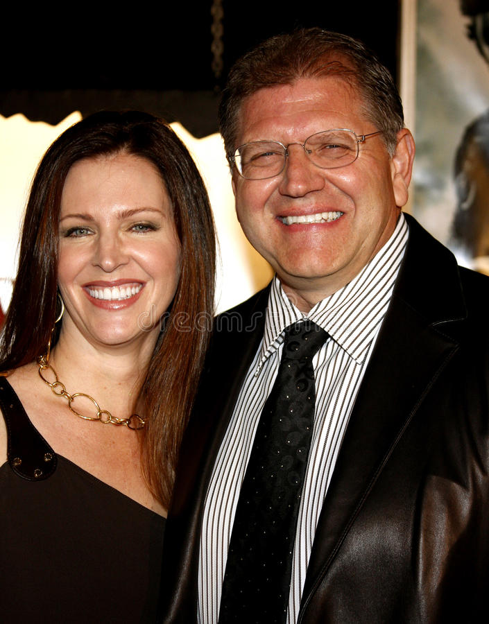 Robert Zemeckis and Leslie Zemeckis. Attend the Los Angeles Premiere of Beowulf held at the Westwood Village Theater in Westwood, California, United States on royalty free stock photo