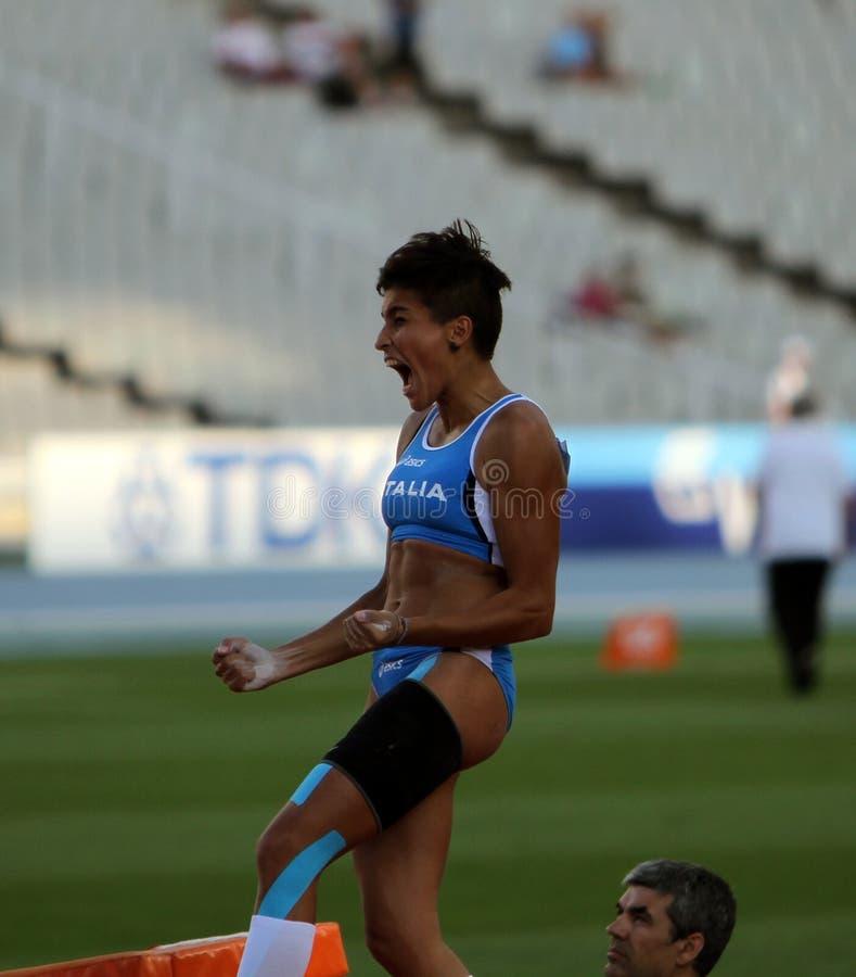 Roberta Bruni d'Italie célèbre la médaille de bronze image libre de droits
