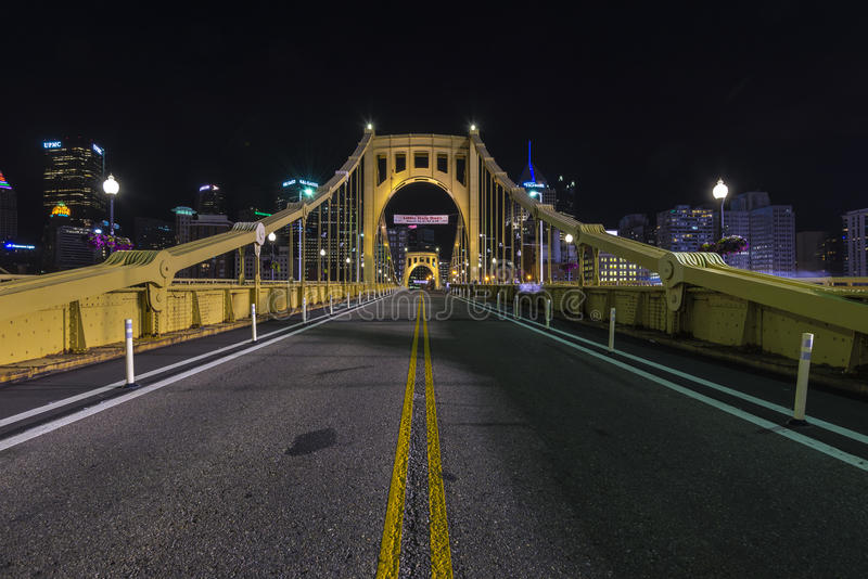 Roberto clemente bridge. An empty Roberto Clemente bridge at night royalty free stock photography