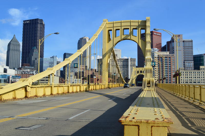Roberto Clemente Bridge and Pittsburgh Skyline. This photo was taken in Pittsburg. The Roberto Clemente Bridge, also known as the Sixth Street Bridge, or Jensen' stock images