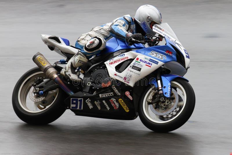 Roberto Tamburini #91 sul campionato WSS di Suzuki GSX-R 600 NS Suriano Corse Supersport fotografia stock