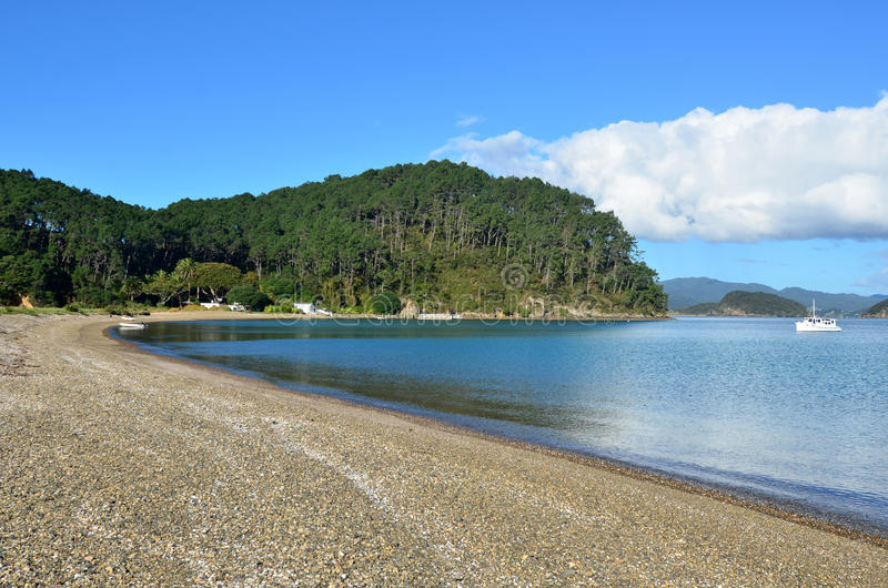 Roberton Island in the Bay of Islands New Zealand. Landscape of Roberton Island beach in the Bay of Islands, New Zealand royalty free stock photos