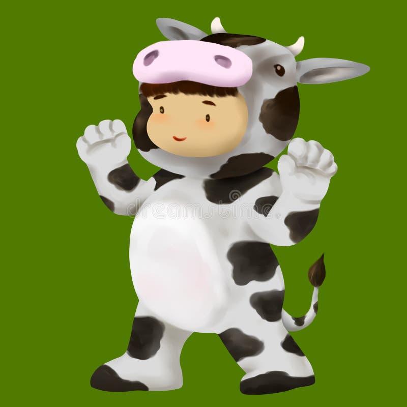 Robes de garçon dans le costume de vache illustration stock