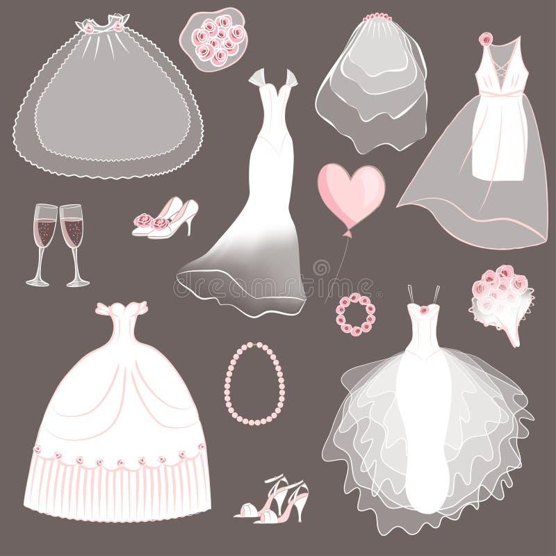 Robes de mariage réglées illustration stock