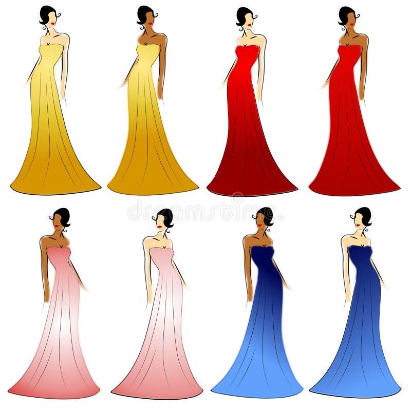 Robes femelles de modèles de mode illustration stock