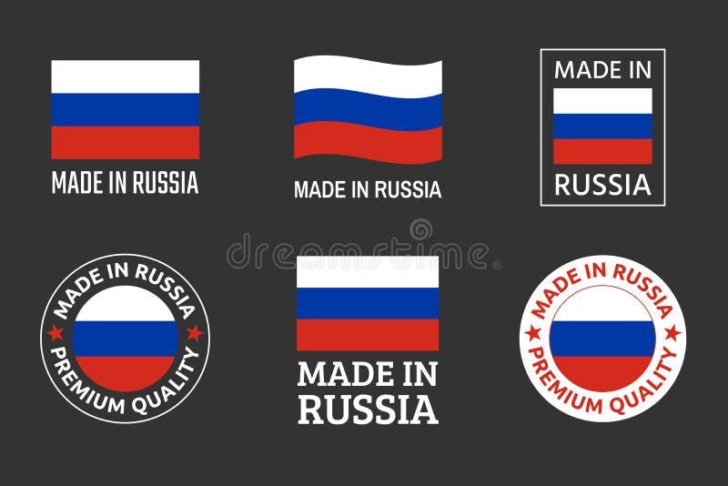 Robić w Rosja etykietkach ustawia, Rosyjski produktu emblemat royalty ilustracja