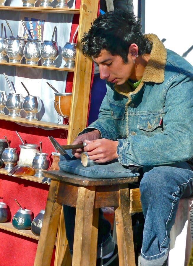 robią kowal srebnej herbaty Argentina filiżanki szturmanowi Argentyna zdjęcia royalty free
