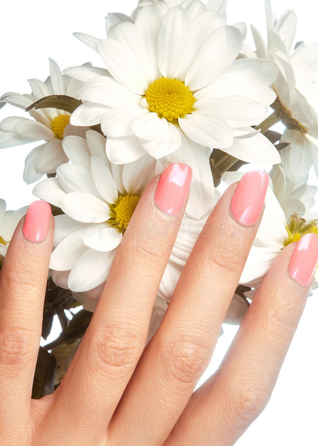 Robiący manikiur gwoździe z naturalnym gwoździa połyskiem Manicure z różowy nailpolish Moda manicure Błyszcząca gel laka Wiosna zdjęcie stock