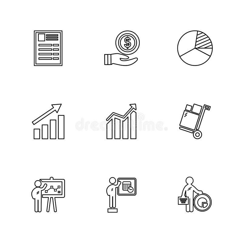 Robiący zakupy, fura, pieniądze, wykres, interfejs użytkownika, eps ikony ustawiać ilustracja wektor
