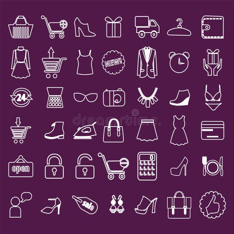 Robiący zakupy i handel detaliczny powiązane ikony ustawiać ilustracja wektor