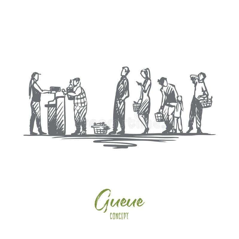 Robiący zakupy, zakupy, kolejka, czekanie, gotówkowego biurka pojęcie Ręka rysujący odosobniony wektor royalty ilustracja