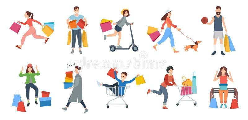 Robiący zakupy ludzie mężczyzny i kobiety przewożenia torby Ustawiać ilustracji