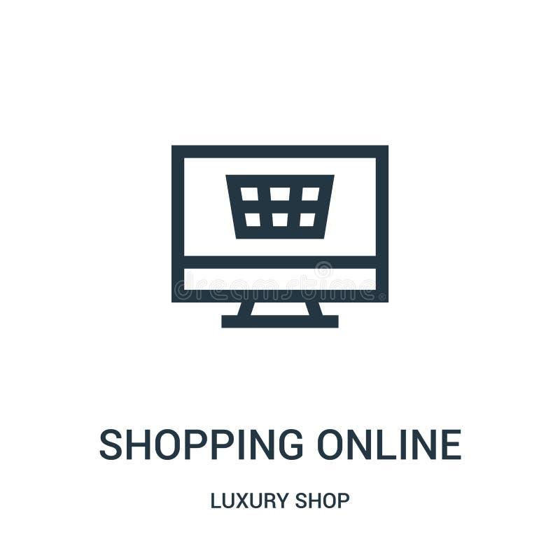 robiący zakupy online ikona wektor od luksusu robi zakupy kolekcję Cienieje kreskowego zakupy konturu ikony wektoru online ilustr ilustracja wektor