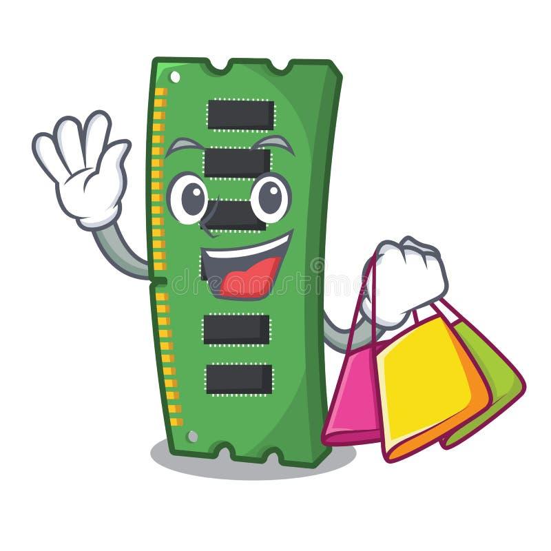 Robiący zakupy RAM kartę pamięci maskotka kształt ilustracja wektor