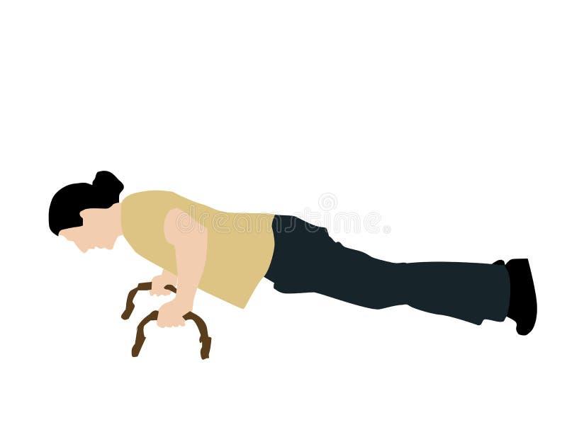 robić fitnessman pchnięciu podnosi ilustracji