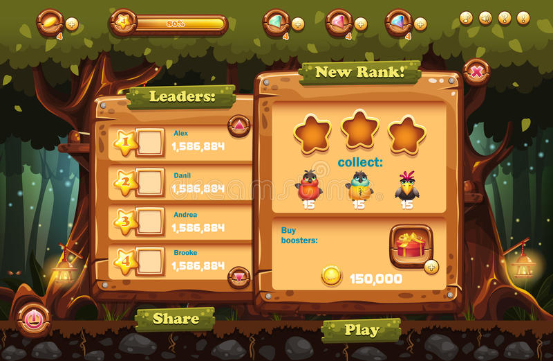 Robić gemowemu ekranowi gry komputerowej magii las royalty ilustracja