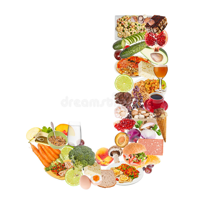 Robić jedzenie listowy J zdjęcia royalty free