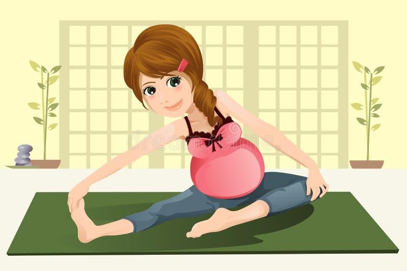 robić kobieta w ciąży joga royalty ilustracja